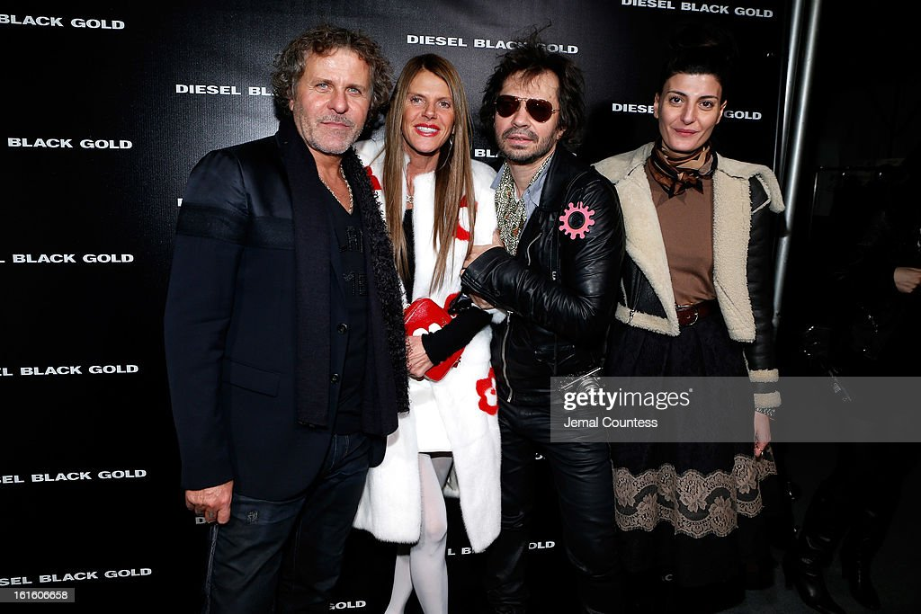 Renzo Rosso, Anna Dello Russo, Olivier Zahm and Giovanna Battaglia backstage at the Diesel Black Gold Fall 2013 fashion show during Mercedes-Benz Fashion Week at Pier 57 on February 12, 2013 in New York City.