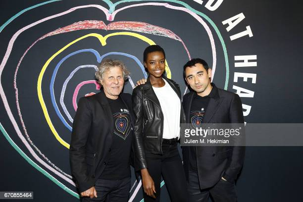 Renzo Rosso Maria Borges and Nicola Formichetti attend Fashion For Relief 'Child At Heart' cocktail party on April 20 2017 in Paris France The 'Child...