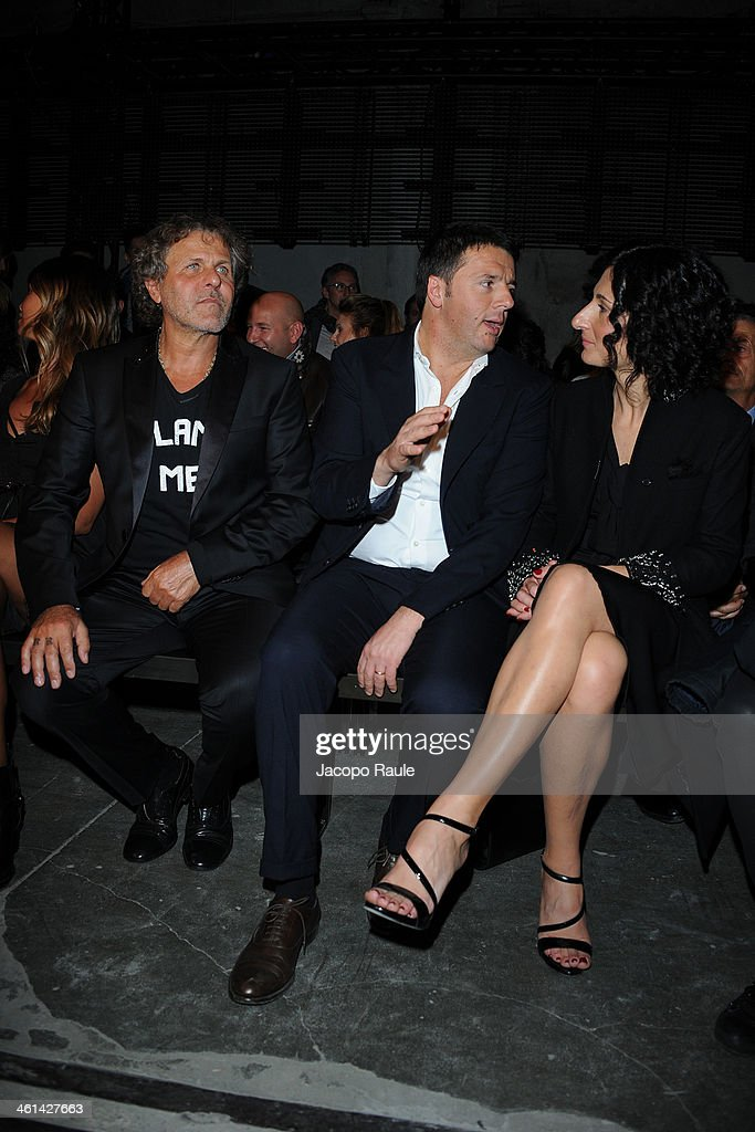 Renzo Rosso, Matteo Renzi and Agnese Renzi attend Diesel Black Gold fashion show during Pitti Immagine Uomo 85 on January 8, 2014 in Florence, Italy.