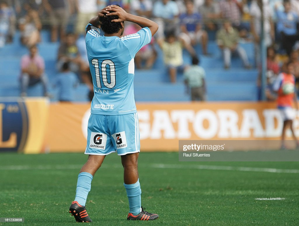 Renzo Sheput of Sporting Cristal reacts during a match between Sporting Cristal and San Martin as part of The 2013 Torneo Descentralizado at the Alberto Gallardo Stadium on February 09, 2013 in Lima, Peru