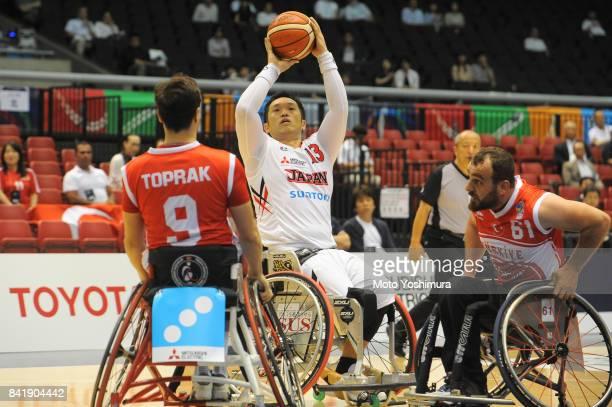 Reo Fujimoto of Japan shoots during the Wheelchair Basketball World Challenge Cup match between Japan and Turkey at the Tokyo Metropolitan Gymnasium...