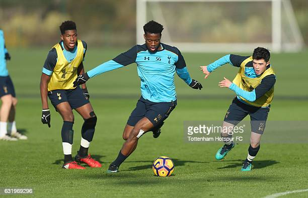 Reo Griffiths Josh Onomah and Cy Goddard of Tottenham during the Tottenham Hotspur training session at Tottenham Hotspur Training Centre on January...