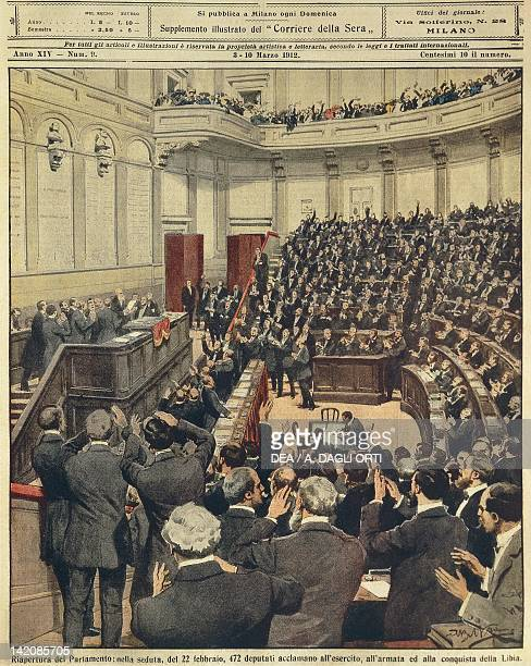 Reopening of the Italian Parliament on the evening of 22nd February cheering of the army after its successful campaign in Libya Illustrator Achille...