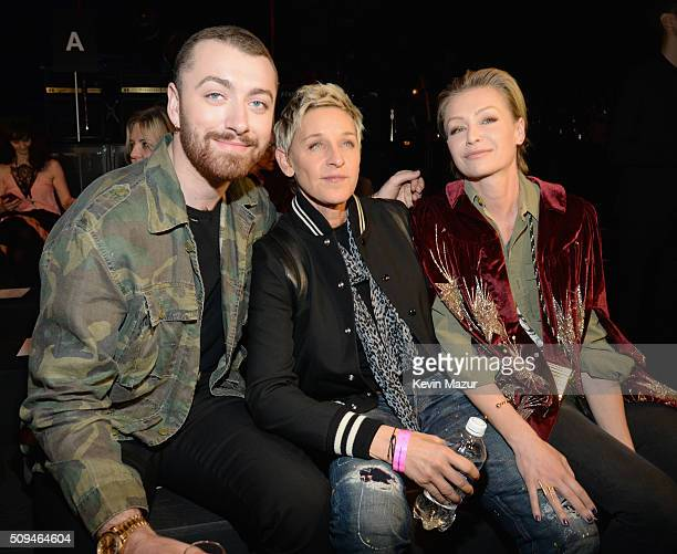 Reording artist Sam Smith TV personality Ellen DeGeneres in Saint Laurent by Hedi Slimane and Porta de Rossi in Saint Laurent by Hedi Slimane attend...