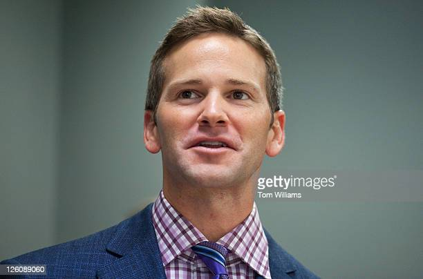 Rep Aaron Schock RIll speaks before unveiling a portrait of former Senate Minority Leader Everett Dirsken RIll which will reside in Sen Mark Kirk's...