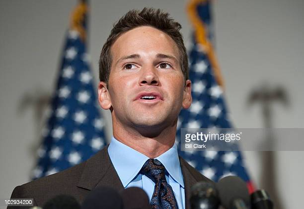 Rep Aaron Schock RIll speaks to the media following the Republicans' 'America Speaking Out' forum on job creation on Friday July 16 2010