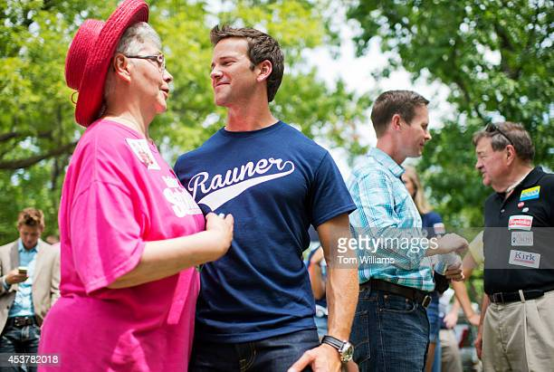 Rep Aaron Schock RIll talks with Carol Hornickle during Republican Day at the Illinois State Fair in Springfield Ill August 14 2014 Rep Rodney Davis...
