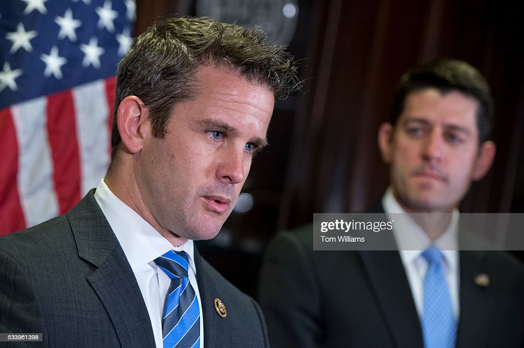 Rep. Adam Kinzinger, R-Ill., left, and Speaker Paul D. Ryan, R-Wis., conduct a news conference at the RNC after a meeting of the House Republican Conference, May 24, 2016. Members addressed recent controversial comments by Department of Veterans Affairs Secretary Bob McDonald.