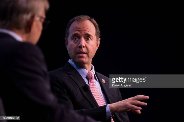 Rep Adam Schiff ranking member of the House Permanent Select Committee on Intelligence speaks during a discussion at the Washington Post office...
