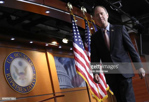Rep Adam Schiff ranking member of the House Permanent Select Committee on Intelligence departs after responding to committee chairman Devin Nunes's...