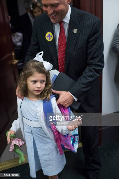 Rep Andy Barr RKy and his daughter Eleanor leave a meeting of the House Republican Conference in the Capitol on June 21 2017 Members wore fleurdelis...