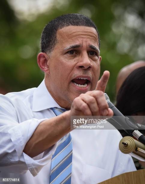 Rep Anthony Brown makes remarks as Casa in Action and Service Employee International Union 32BJ hold a rally in Lafayette square to denounce Trump's...