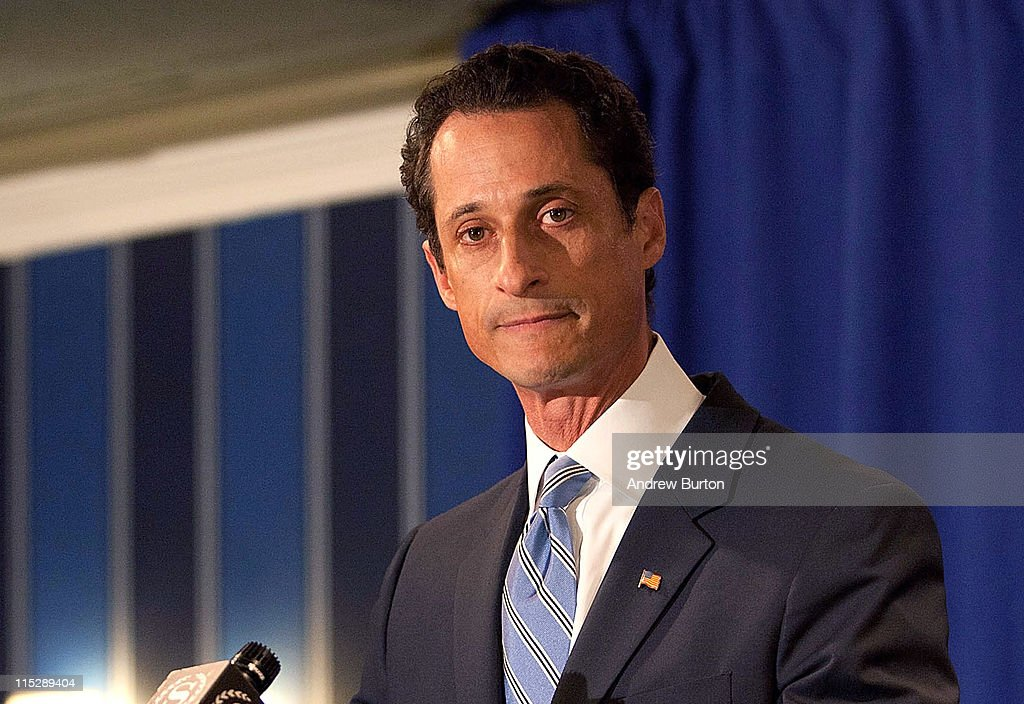 Rep. <a gi-track='captionPersonalityLinkClicked' href=/galleries/search?phrase=Anthony+Weiner&family=editorial&specificpeople=821661 ng-click='$event.stopPropagation()'>Anthony Weiner</a> (D-NY) admits to sending a lewd Twitter photo of himself to a woman and then lying about it during a press conference at the Sheraton Hotel on 7th Avenue on June 6, 2011 in New York City. Weiner said he had not met any of the women in person but had numerous sexual relationships online while married.