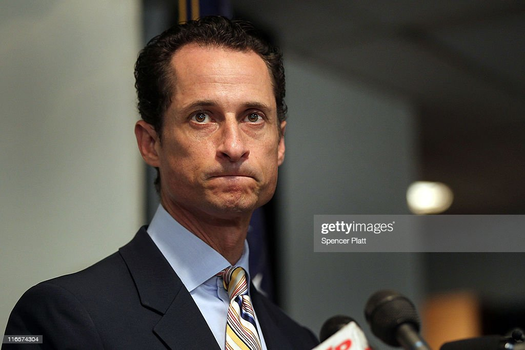 Rep. <a gi-track='captionPersonalityLinkClicked' href=/galleries/search?phrase=Anthony+Weiner&family=editorial&specificpeople=821661 ng-click='$event.stopPropagation()'>Anthony Weiner</a> (D-NY) announces his resignation June 16, 2011 in the Brooklyn borough of New York City. The resignation comes 10 days after the congressman admitted to sending lewd photos of himself on Twitter to multiple women.