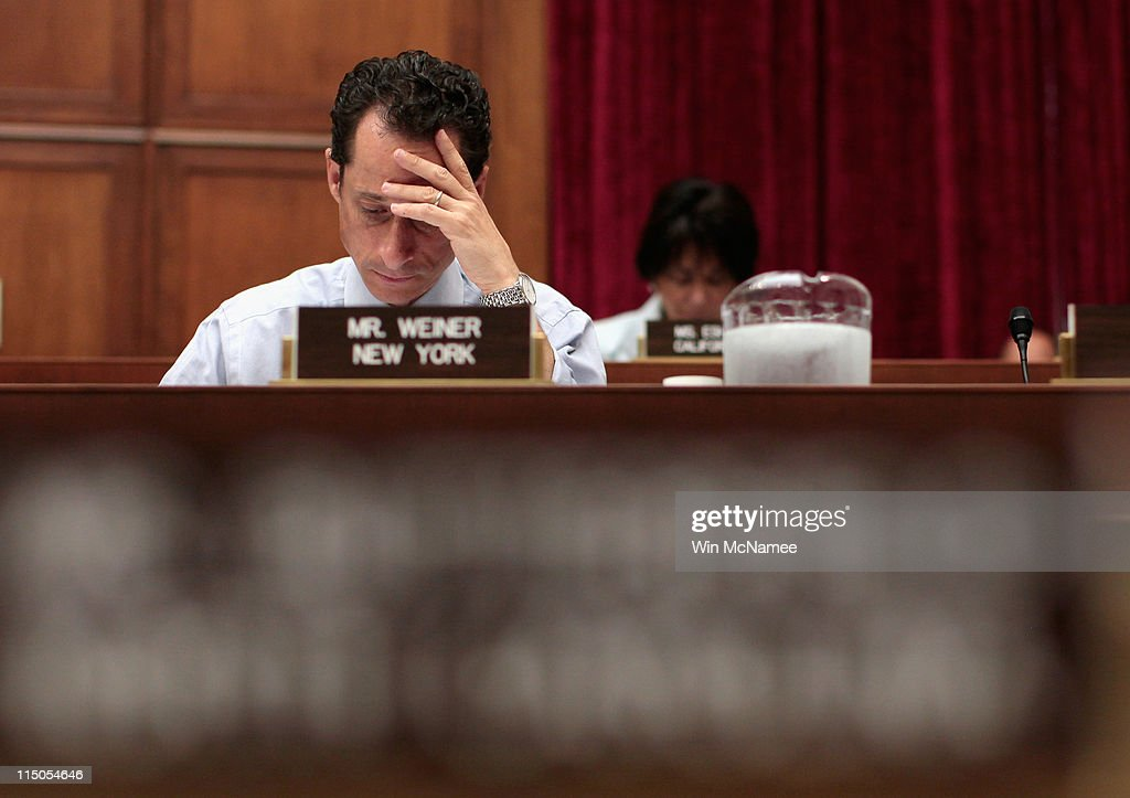 Rep. <a gi-track='captionPersonalityLinkClicked' href=/galleries/search?phrase=Anthony+Weiner&family=editorial&specificpeople=821661 ng-click='$event.stopPropagation()'>Anthony Weiner</a> (D-NY) attends a House markup on Capitol Hill June 2, 2011 in Washington, DC. Weiner declined to comment further this morning on the recent incident involving his Twitter account and a photograph that was sent from that account.