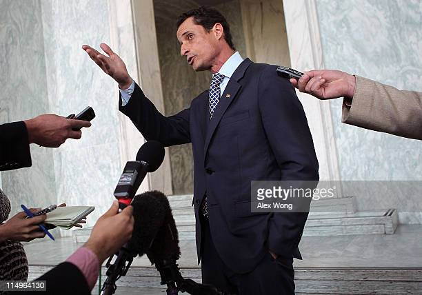 S Rep Anthony Weiner speaks to the media regarding a lewd photo tweet May 31 2011 on Capitol Hill in Washington DC A closeup photo of underwear of a...