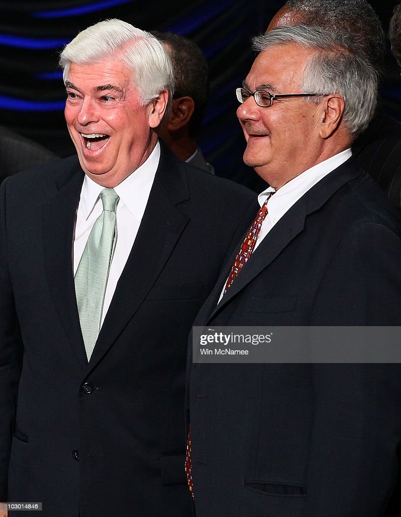 Rep. Barney Frank (R) (D-MA) and Sen. Chris Dodd (L) (D-CT) talk with each other after U.S. President Barack Obama signed the Dodd-Frank Wall Street Reform and Consumer Protection Act at the Ronald Reagan Building July 21, 2010 in Washington, DC. The bill is the strongest financial reform legislation since the Great Depression and also creates a consumer protection bureau that oversees banks on mortgage lending and credit card practices.
