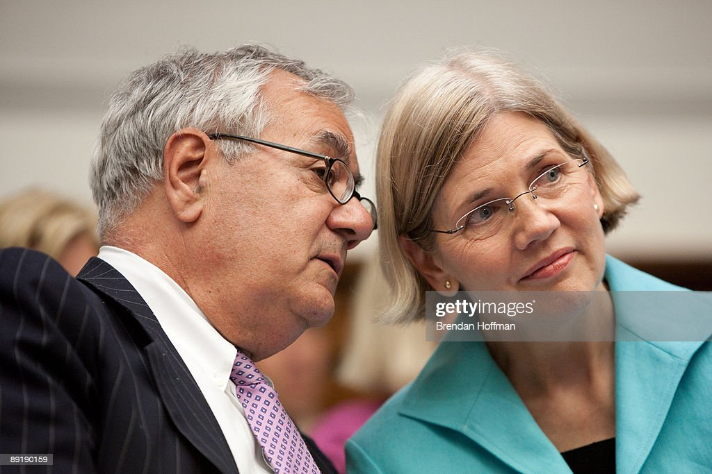 Rep. Barney Frank (D-MA), chairman of the House Financial Services Committee (L), talks with Elizabeth Warren, Chair of the TARP Congressional Oversight Panel, during a hearing on Capitol Hill on July 22, 2009 in Washington, DC. The hearing was held to oversee the Troubled Asset Relief Program (TARP).