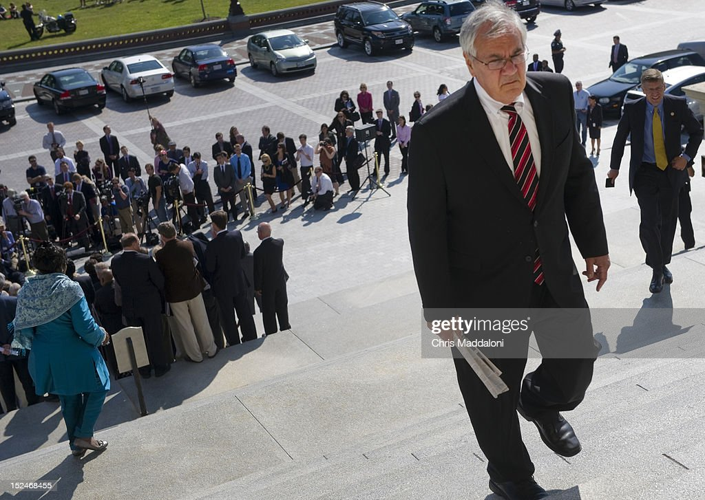 Rep. Barney Frank, D-Mass., leaves a press conference of House Democrats on the east front steps of the Capitol calling for the House to remain in session.