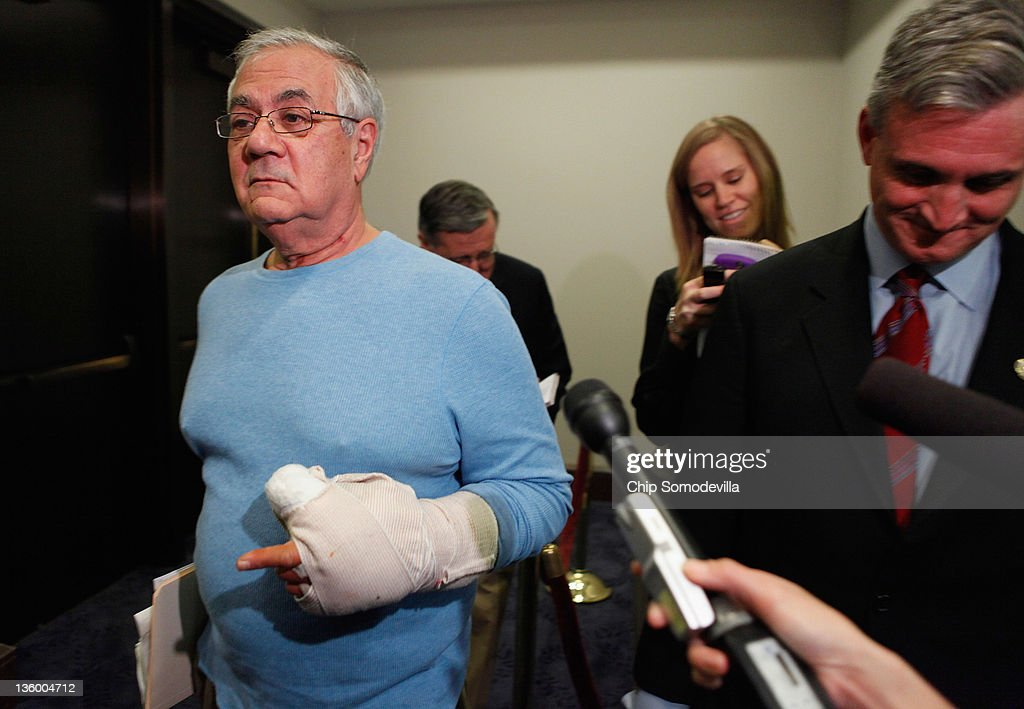 Rep. <a gi-track='captionPersonalityLinkClicked' href=/galleries/search?phrase=Barney+Frank&family=editorial&specificpeople=216439 ng-click='$event.stopPropagation()'>Barney Frank</a> (D-MA) talks with members of the news media before heading into a House Democratic caucus meeting at the U.S. Capitol December 19, 2011 in Washington, DC. Frank is wearing a cast on his left hand after having ligament surgery, he said. The House is expected to reject legislation passed by the Senate last week extended the payroll tax cuts and unemployment benefits by two months instead of a year, which House Republicans are demanding.