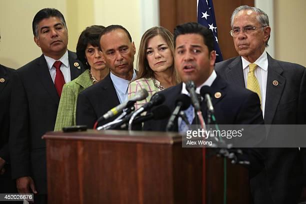S Rep Ben Luján speaks as Rep Tony Cardenas Rep Lucille RoybalAllard Rep Luis Gutierrez Rep Loretta Sanchez and Rep Rubén Hinojosa listen during a...