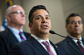 Rep Ben Ray Lujan DNM along with Reps Joe Crowley DNY left and Xavier Becerra DCalif conduct a news conference after a meeting with House Democrats...