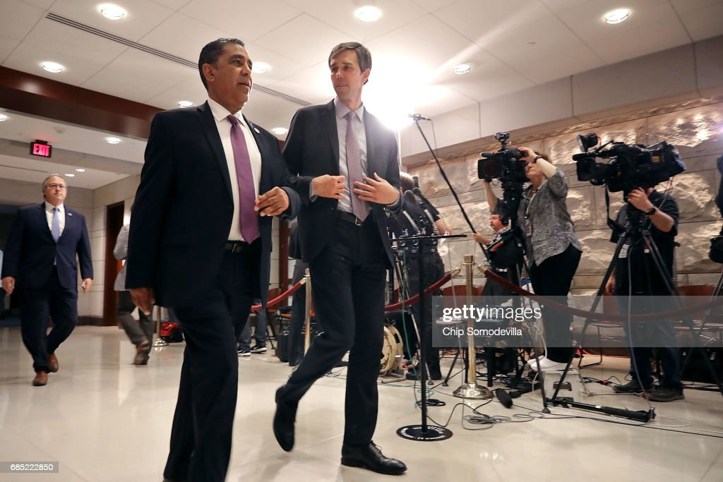 Rep. Beto O'Rourke (D-TX) (C) and fellow House members arrive for a meeting with Deputy U.S. Attorney General Rod Rosenstein at the U.S. Capitol May 19, 2017 in Washington, DC. Rosenstein met with senators a day earlier and was questioned about his role in the firing of former FBI Director James Comey and his appointment of former FBI Director Robert Mueller as a special counsel to investigate Russian meddling in the 2106 presidential election.
