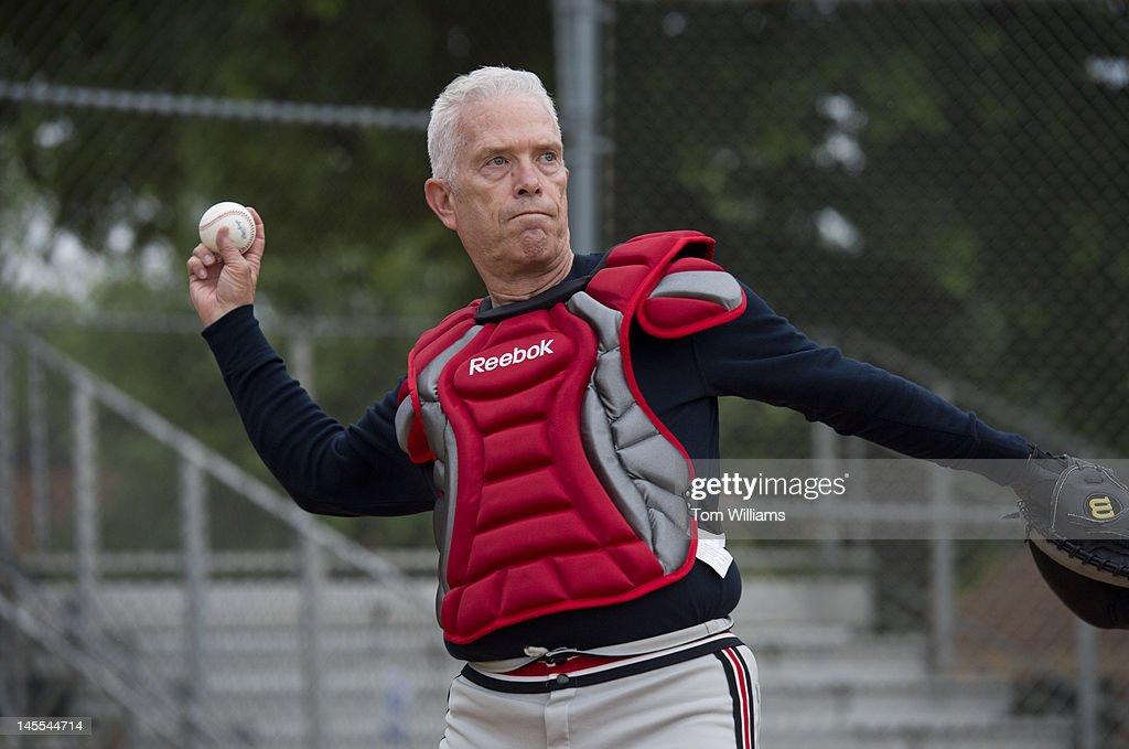 Rep. Bill Johnson, R-Ohio, participates in republican baseball practice at Simpson Stadium in Alexandria, Va.