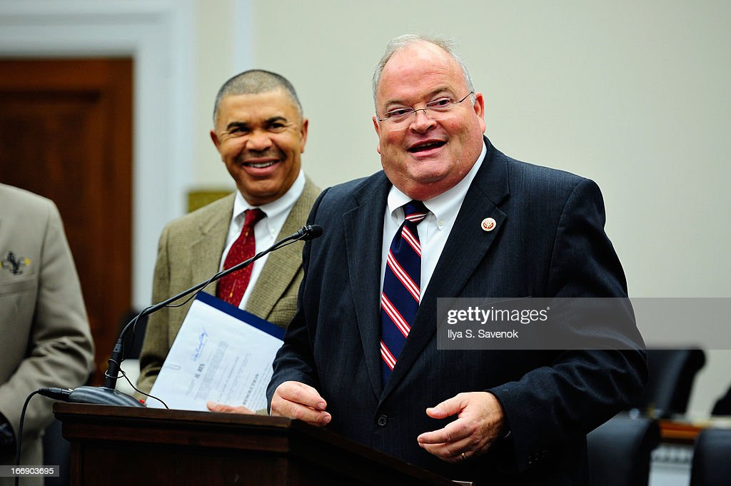 Rep. Billy Long (R-MO) and Rep. William 'Lacy' Clay (D-MO) attend a special event held at United States Capitol Building on April 18, 2013 in Washington, DC.