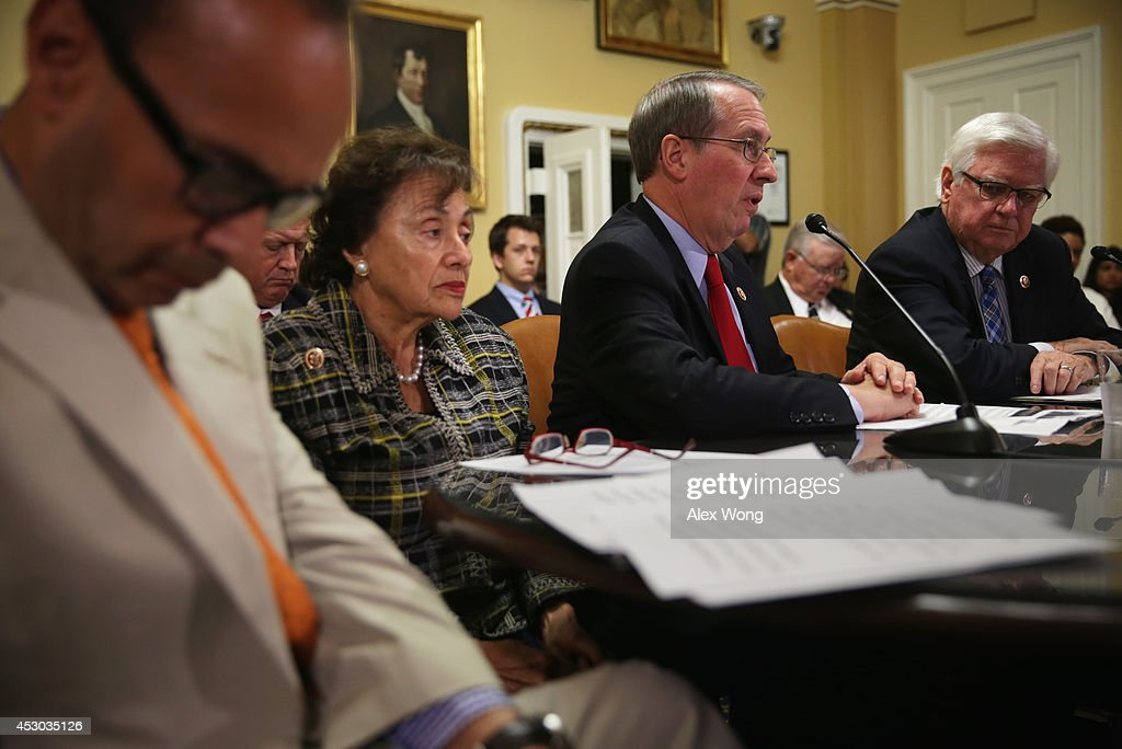 U.S. Rep. Bob Goodlatte (R-VA) (3rd L) speaks as (L-R) Rep. Luis Gutierrez (D-IL), Rep. <a gi-track='captionPersonalityLinkClicked' href=/galleries/search?phrase=Nita+Lowey&family=editorial&specificpeople=878051 ng-click='$event.stopPropagation()'>Nita Lowey</a> (R-NY), and Rep. Hal Rogers (R-KY) listen duirng a House Rules Committee meeting August 1, 2014 on Capitol Hill in Washington, DC. The House came back on Friday, a day after its scheduled summer recess, trying to finish up a border supplemental spending bill that was pulled from the floor the day before because of a shortage of votes.
