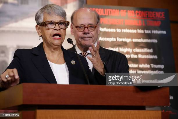 Rep Bonnie Watson Coleman and Rep Steve Cohen hold a news conference to talk about their introduction of 'a resolution of no confidence in President...