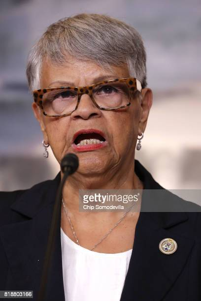 Rep Bonnie Watson Coleman speaks during a news conference about the introduction of 'a resolution of no confidence in President Donald J Trump' in...
