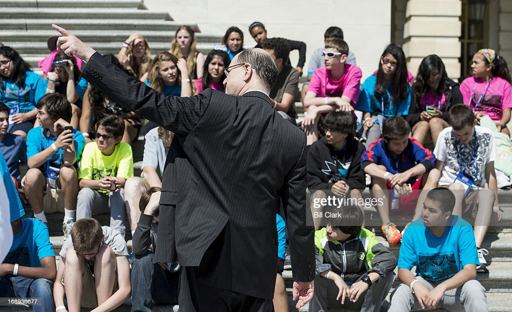 Rep. Brad Sherman, D-Calif., talks to a group of students from the Walter Reed Middle School in Los Angeles on the House steps after a series of votes in the House of Representatives on Friday, May 17, 2013.