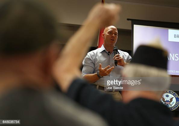 Rep Brian Mast speaks during a town hall meeting at the Havert L Fenn Center on February 24 2017 in Fort Pierce Florida Rep Mast held the veteran's...