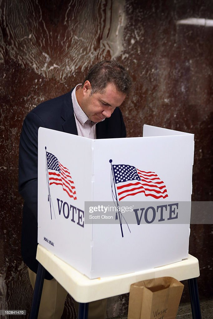 U.S. Rep. Bruce Braley (D-IA) votes during early voting at the Black Hawk County Courthouse on September 27, 2012 in Waterloo, Iowa. Early voting starts today in Iowa where in the 2008 election 36 percent of voters cast an early ballot.