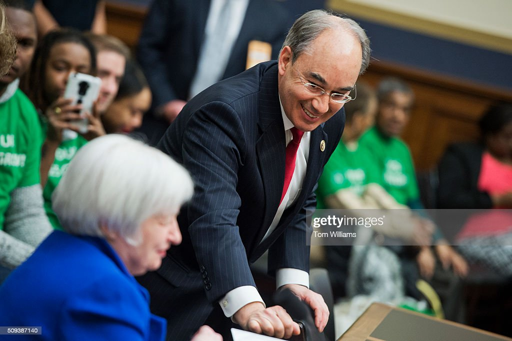 Rep. Bruce Poliquin, R-Me., talks with Chair of the Federal Reserve Janet Yellen during a House Financial Services committee hearing in Rayburn titled Monetary Policy and the State of the Economy,' February 10, 2016.