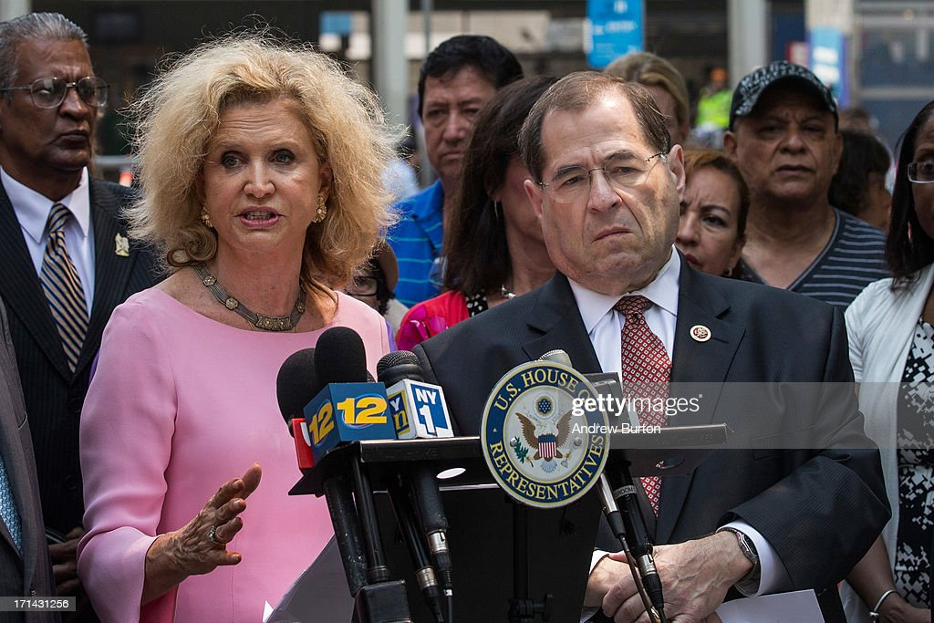 U.S. Rep. Carolyn Maloney (D-NY) (L) and U.S. Rep. Jerry Nadler (D-NY) speak at a press conference announcing the 100-day deadline for people whose health has been affected by the September 11 attacks to file for economic compensation through the '9/11 James Zadroga Act's Victim's Compensation Fund' on June 24, 2013 in New York City. The deadline for filing is October 3, 2013.