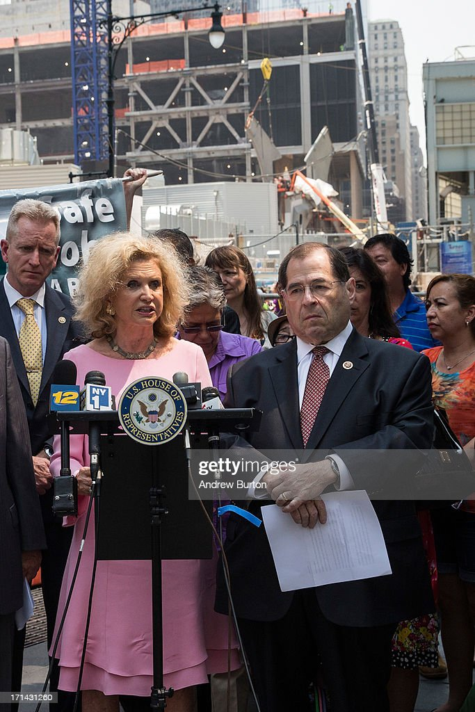 U.S. Rep. Carolyn Maloney (D-NY) (2nd L) and U.S. Rep. Jerry Nadler (D-NY) (4th R) speak at a press conference announcing the 100-day deadline for people whose health has been affected by the September 11 attacks to file for economic compensation through the '9/11 James Zadroga Act's Victim's Compensation Fund' on June 24, 2013 in New York City. The deadline for filing is October 3, 2013.