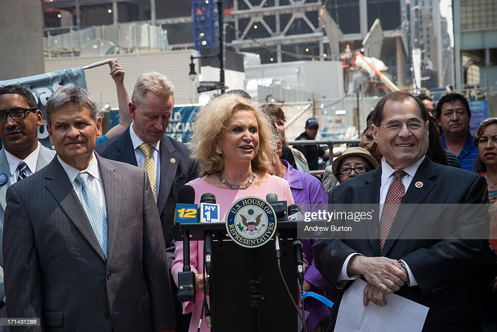 U.S. Rep. Carolyn Maloney (D-NY) (4th L) and U.S. Rep. Jerry Nadler (D-NY) (3rd R) speak at a press conference announcing the 100-day deadline for people whose health has been affected by the September 11 attacks to file for economic compensation through the '9/11 James Zadroga Act's Victim's Compensation Fund' on June 24, 2013 in New York City. The deadline for filing is October 3, 2013.