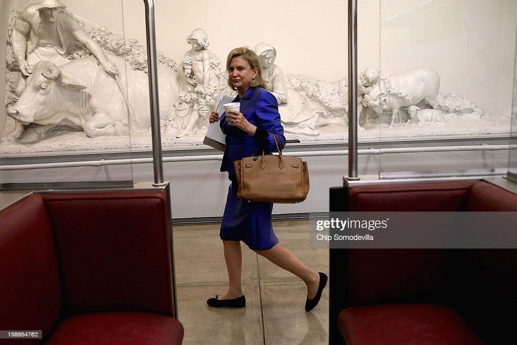 Rep. Carolyn Maloney (D-NY) heads to the U.S. Capitol before the House of Representatives passed legislation for Superstorm Sandy relief January 4, 2013 in Washington, DC. The House passed a measure to temporarily increase the borrowing authority of FEMA for carrying out the Flood Insurance Program that will pay $9.7 billion for those flooded by Sandy.