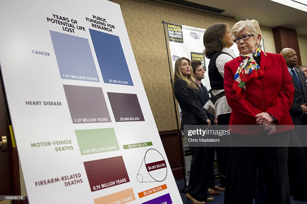 Rep. Carolyn McCarthy, D-N.Y., looks at gun crime statistics at a press conference at the U.S. Capitol to call on Congress to act on President Obama's plan to reduce gun violence, including background checks for all gun sales and an assault weapons ban.