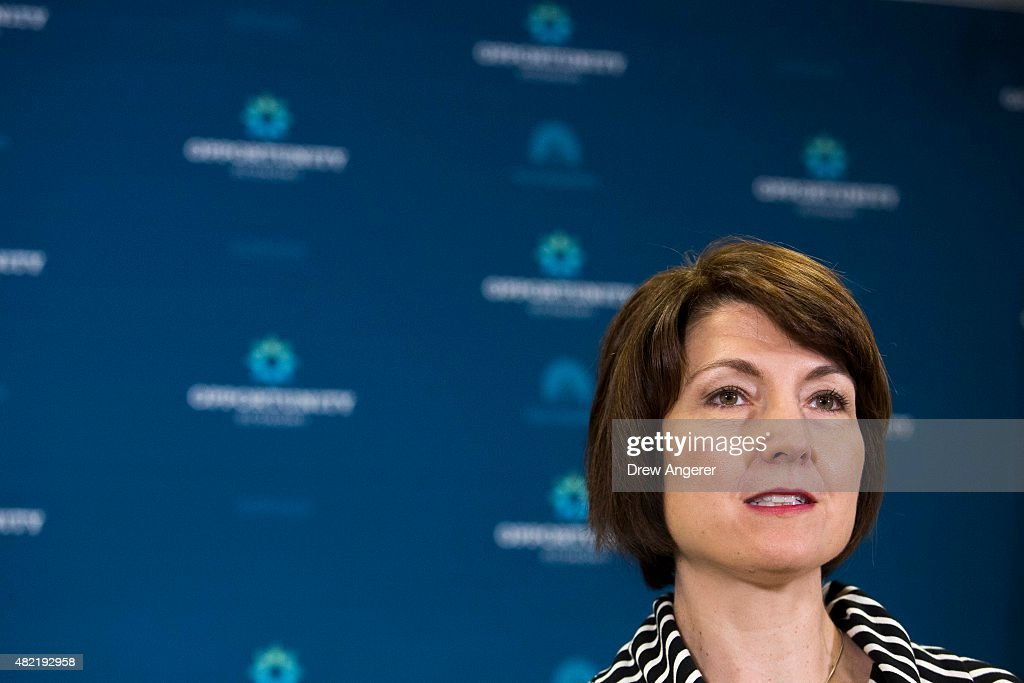 Rep. Cathy McMorris Rodgers (R-WA) speaks during a press conference after a closed meeting with fellow Republicans, on Capitol Hill, July 28, 2015 in Washington, DC. The House plans to move on Wednesday to extend highway and transit programs for three months.