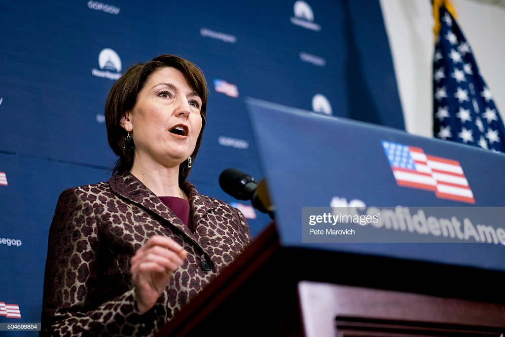 Rep. <a gi-track='captionPersonalityLinkClicked' href=/galleries/search?phrase=Cathy+McMorris+Rodgers&family=editorial&specificpeople=5685653 ng-click='$event.stopPropagation()'>Cathy McMorris Rodgers</a> (R-WA) speaks to reporters following the weekly House GOP Conference meeting at the U.S. Capitol on January 12, 2016 in Washington, DC. Ryan said he hoped President Barack Obama would offer a plan for defeating Islamic State in tonights State of the Union address.