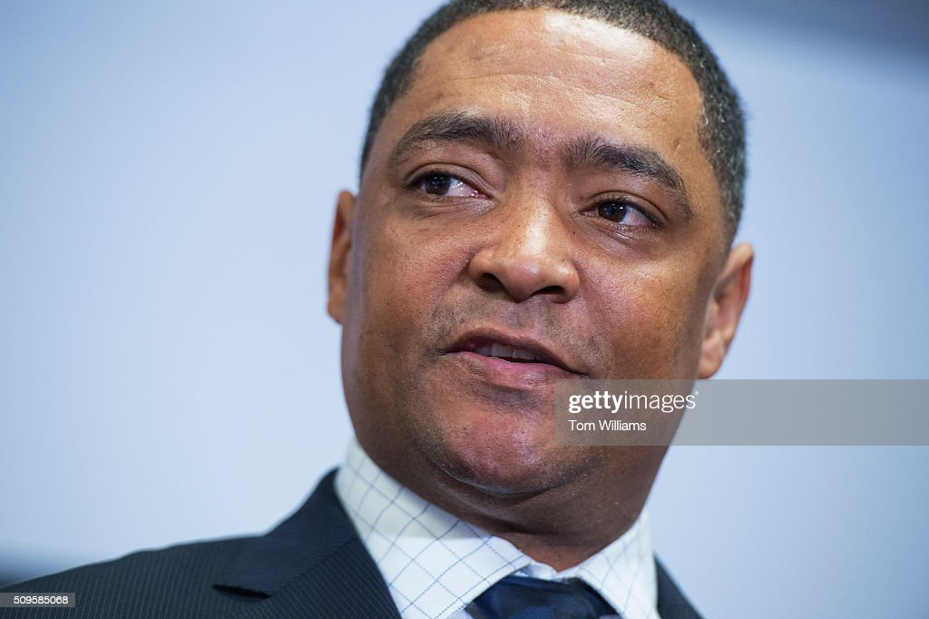 Rep. Cedric Richmond, D-La., conducts a news conference at the DNC where members of the Congressional Black Caucus PAC endorsed Hillary Clinton for president, February 11, 2016.