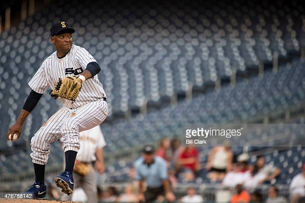Rep Cedric Richmond DLa pitches during the 54th Annual Roll Call Congressional Baseball Game at Nationals Park in Washington on Thursday June 11 2015...
