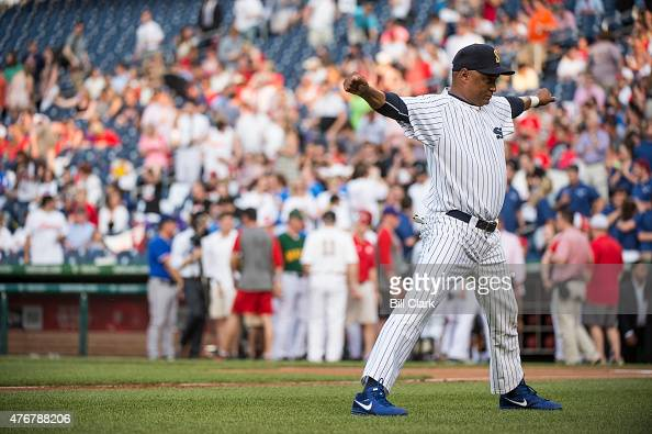 Rep Cedric Richmond DLa stretches before pitching at the 54th Annual Roll Call Congressional Baseball Game at Nationals Park in Washington on...