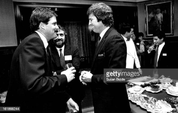 Rep Charles Brown talks with Pancho Hayes a lobbyist and Terry Frakes of the Tobacco Institute at Grant Humphries Mansion party hosted by Colo Assoc...