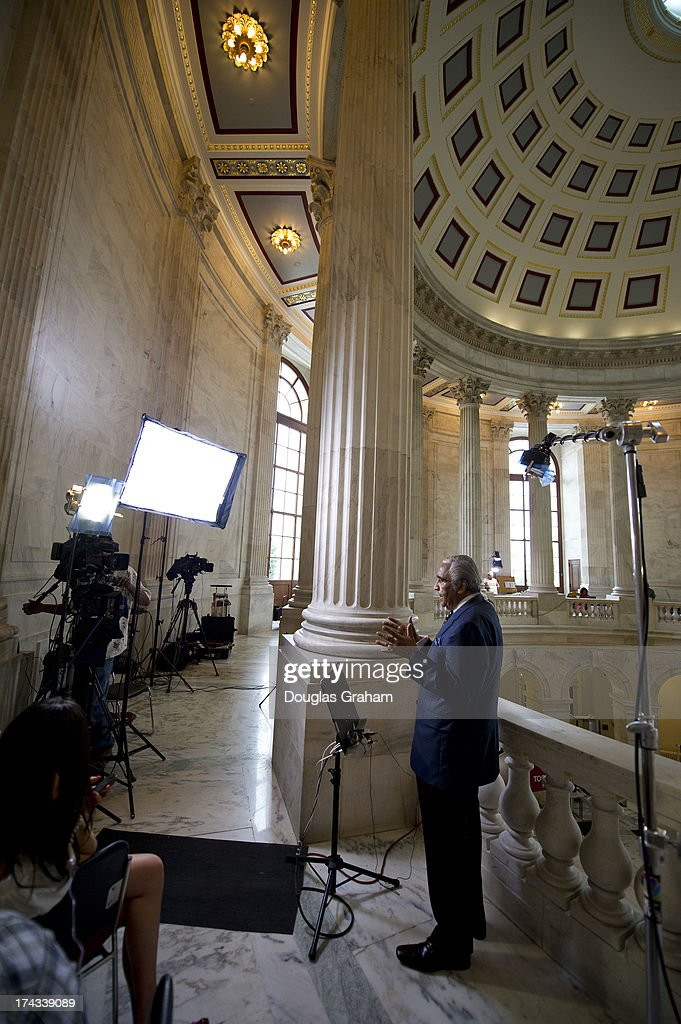 Rep. Charles Rangel, D-NY., talks about race relations in the wake of the Trayvon Martin ruling during a TV stand-up in the Russell Rotunda on July 24, 2013.