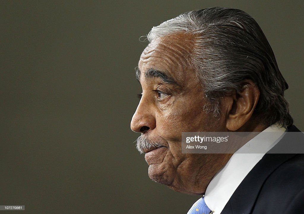 U.S. Rep. <a gi-track='captionPersonalityLinkClicked' href=/galleries/search?phrase=Charles+Rangel&family=editorial&specificpeople=213581 ng-click='$event.stopPropagation()'>Charles Rangel</a> (D-NY) pauses as he speaks to the media after he was censured on Capitol Hill December 2, 2010 in Washington, DC. A House ethics panel found that Rangel, 80, was guilty of 11 counts of misconduct, finding that he failed to pay some taxes, failed to report his personal income, and was improper in his solicitation of charitable donations.