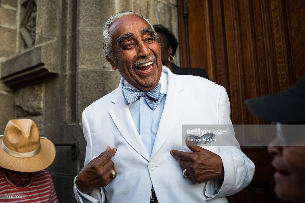 U.S. Rep. Charlie Rangel (D-NY) speaks to constituents while campaigning in New York's 13th District on June 23, 2014 in the Harlem neighborhood of New York City. The 84-year-old congressman faces a Democratic primary election tomorrow against New York State Sen. Adriano Espaillat.